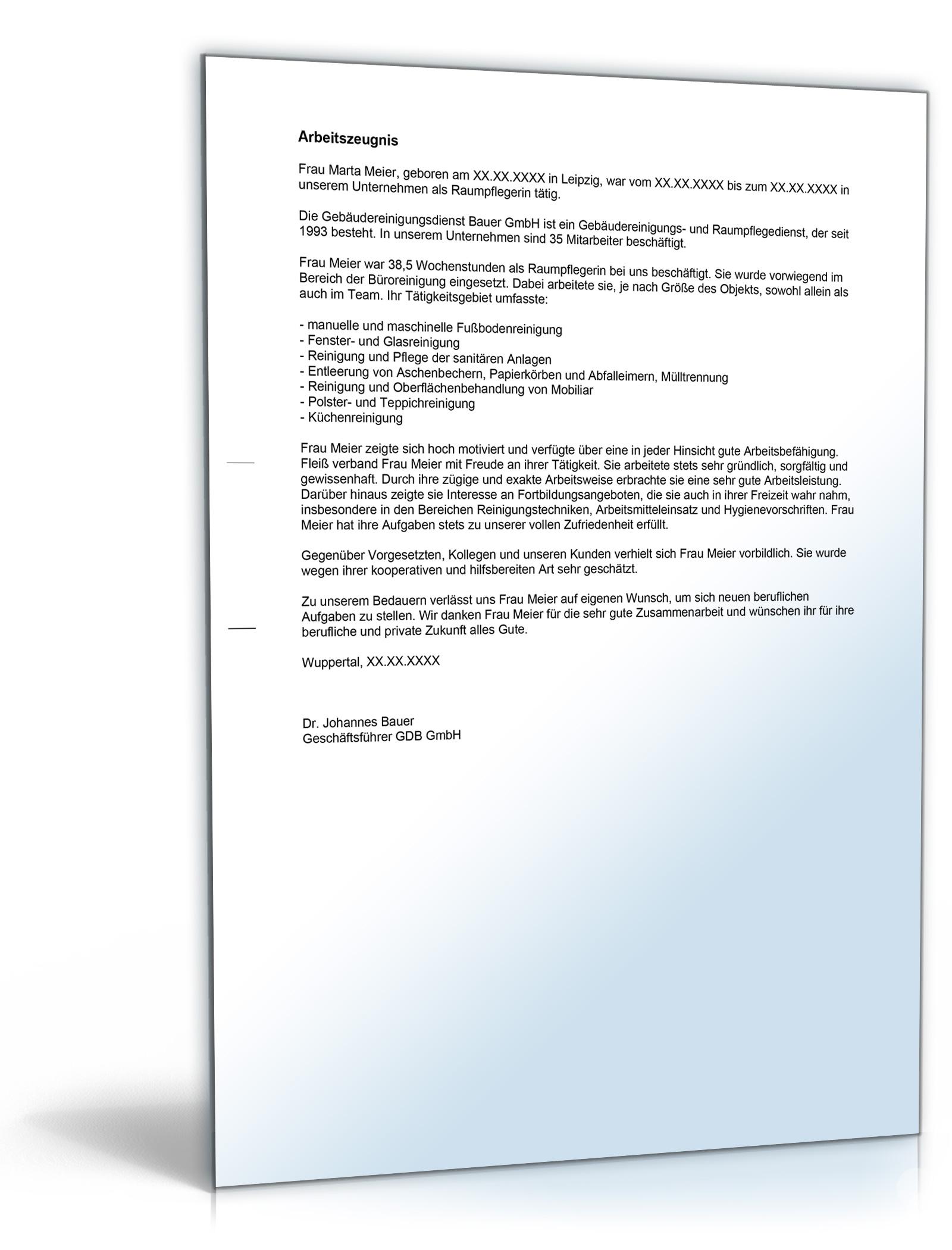 Arbeitszeugnis Raumpflegerin Note Zwei Word Dokument Amazonde