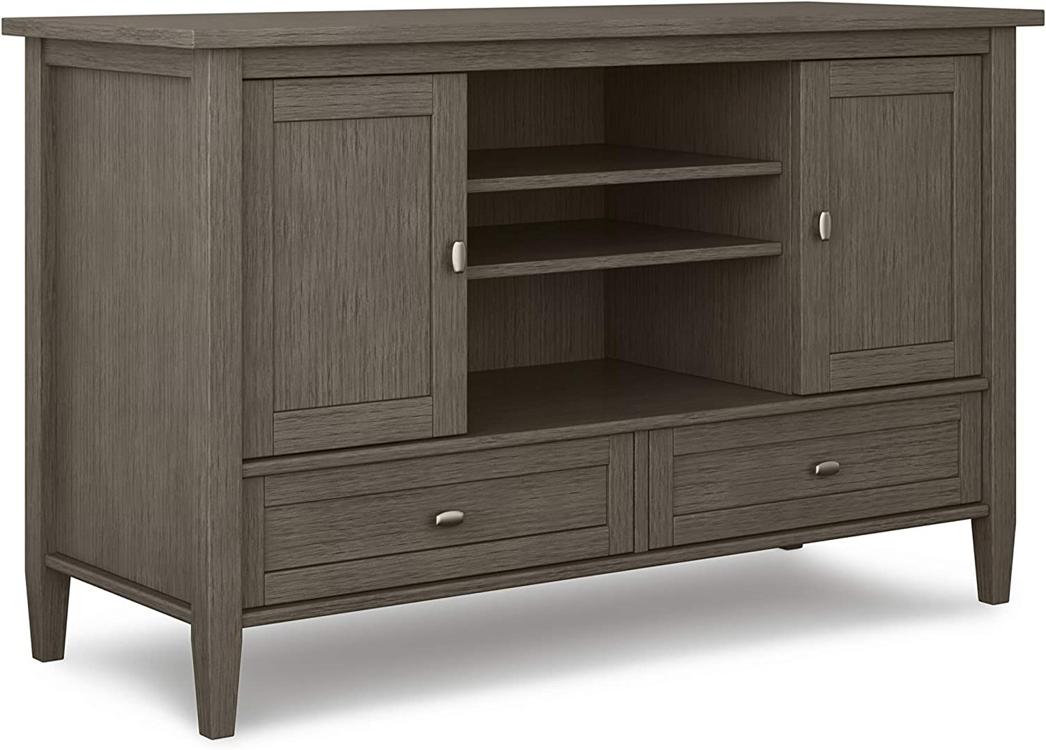 SIMPLIHOME Warm Shaker SOLID WOOD Universal TV Media Stand, 47 inch Wide, Farmhouse Rustic, Living Room Entertainment Center, Storage Cabinet, for Flat Screen TVs up to 55