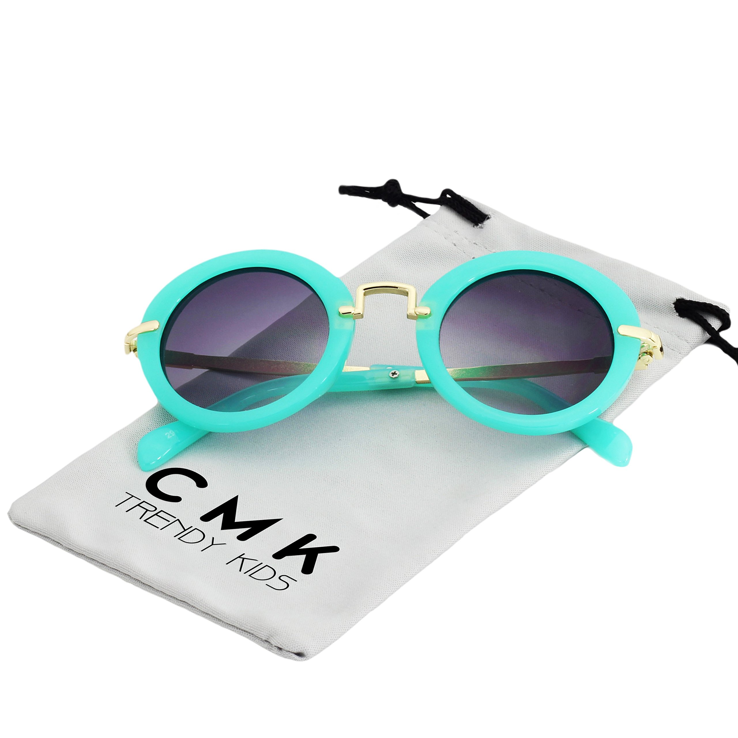 CMK Trendy Kids Classic Toddler Round Sunglasses for Little Girls and Boys Metal Legs (CMK180201_GR)