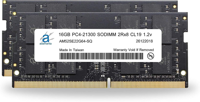Laptop Memory Upgrade Compatible for Dell Precision 3530 DDR4 2666Mhz PC4-21300 SODIMM 2Rx8 CL19 1.2v Notebook RAM DRAM 2x16GB Adamanta 32GB