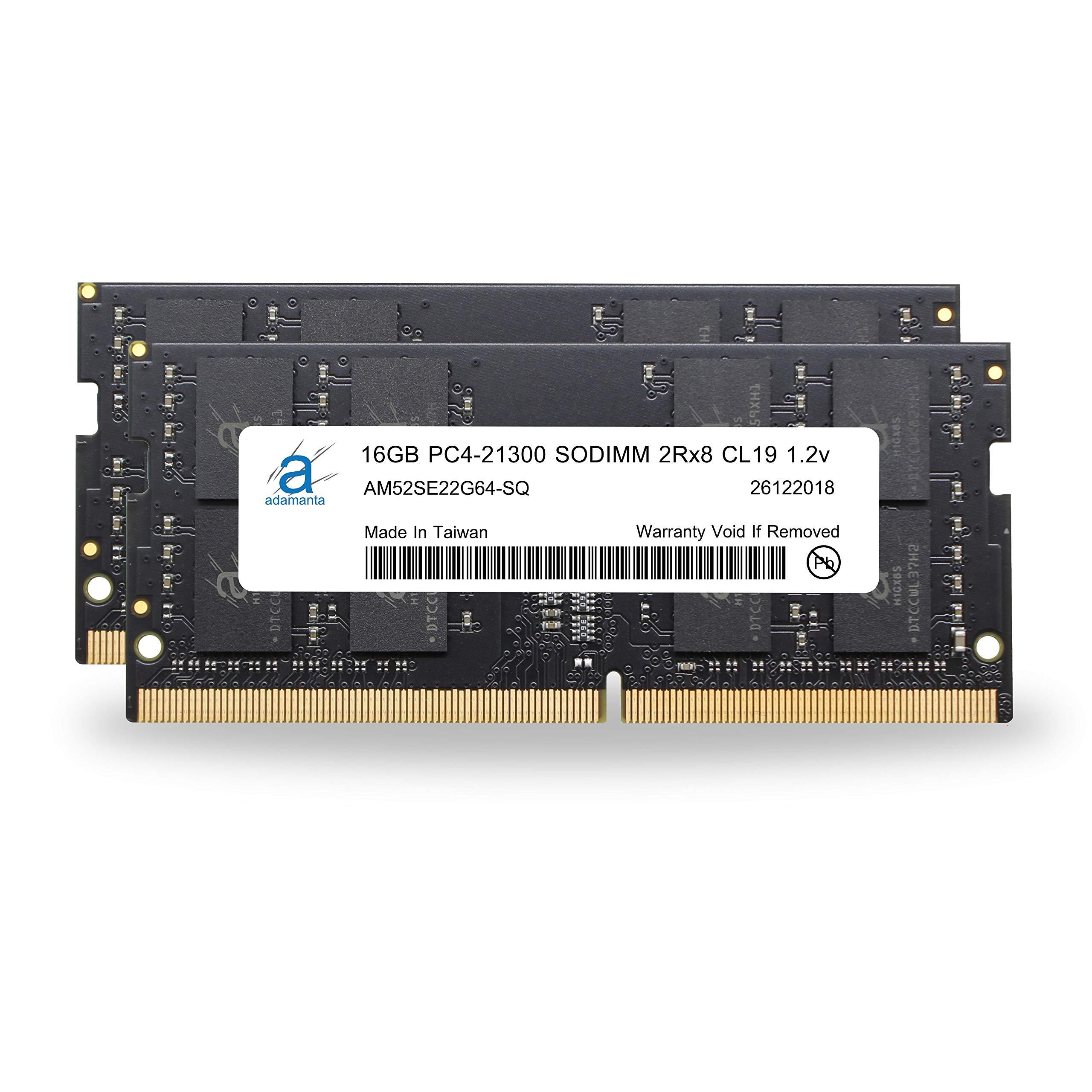 Adamanta 32GB (2x16GB) Memory Upgrade for 2019 Apple iMac 27'' w/Retina 5K Display, Late 2018 Apple Mac Mini DDR4 2666Mhz PC4-21300 SODIMM 2Rx8 CL19 1.2v DRAM RAM