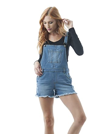 dcd6fd383c Amazon.com: Hollywood Star Fashion Women's Destroyed Short Overalls Denim  Jean Distressed Ripped: Clothing
