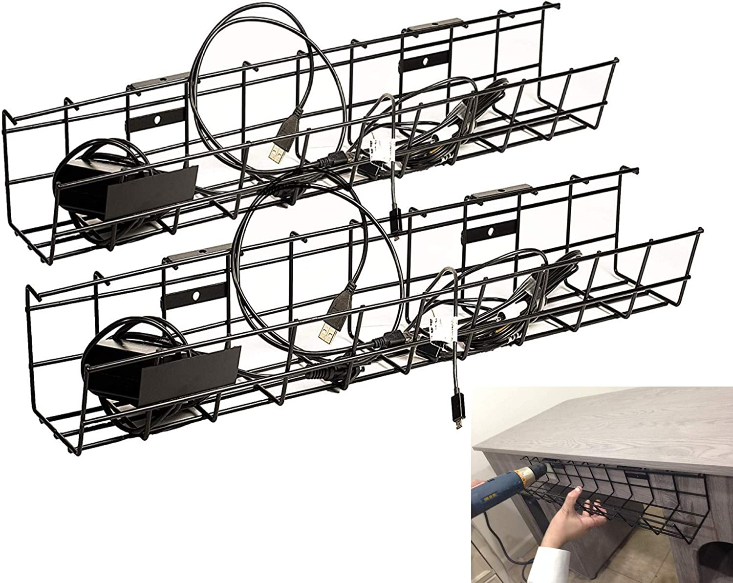 Under Desk Cable Management Tray Cable Organizer for Wire Management. Metal  Wire Cable Tray for Office and Home Computer Cable Management & Cord