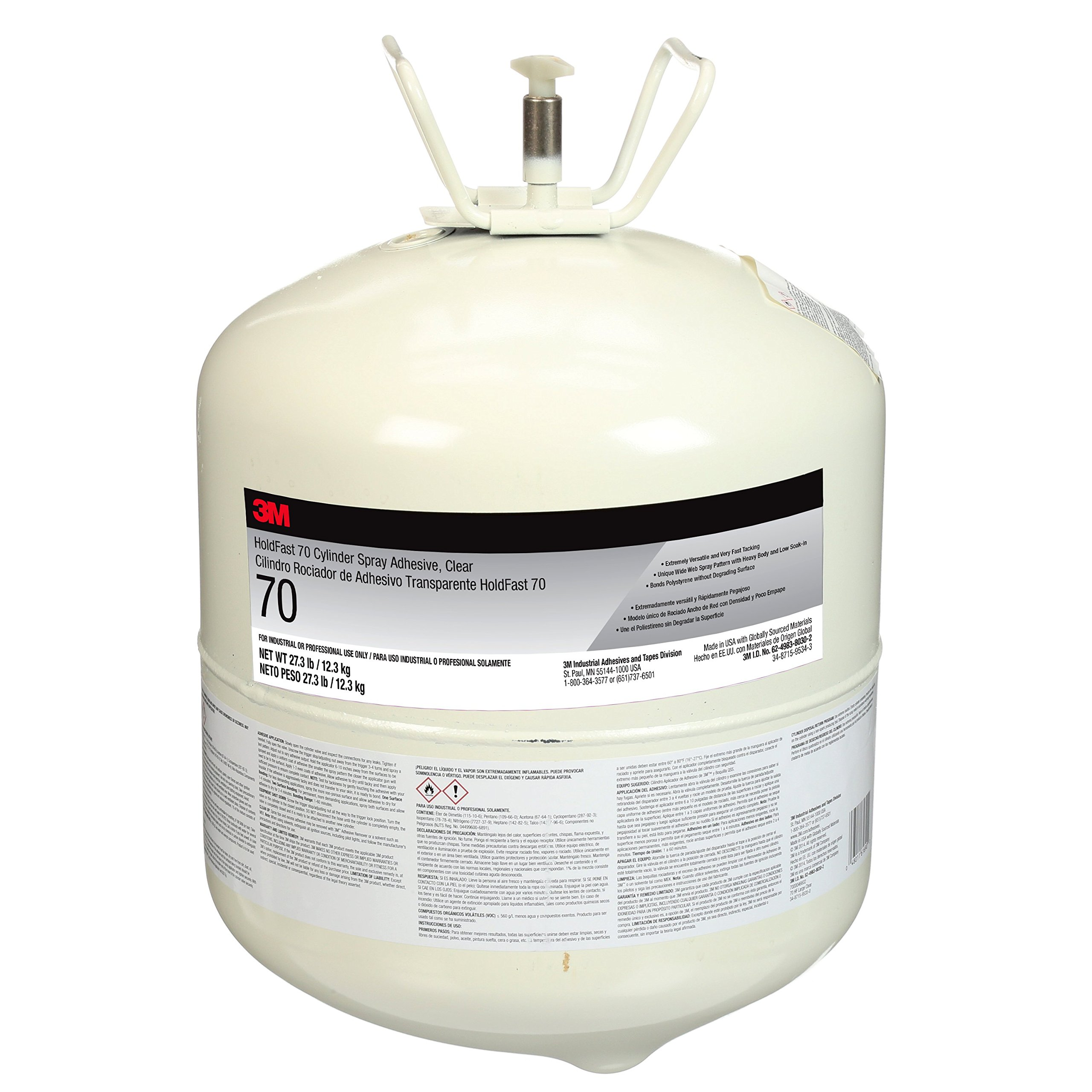 3M HoldFast 70 Cylinder Spray Adhesive, Large Cylinder, 27.3 lb. Net Weight, Clear