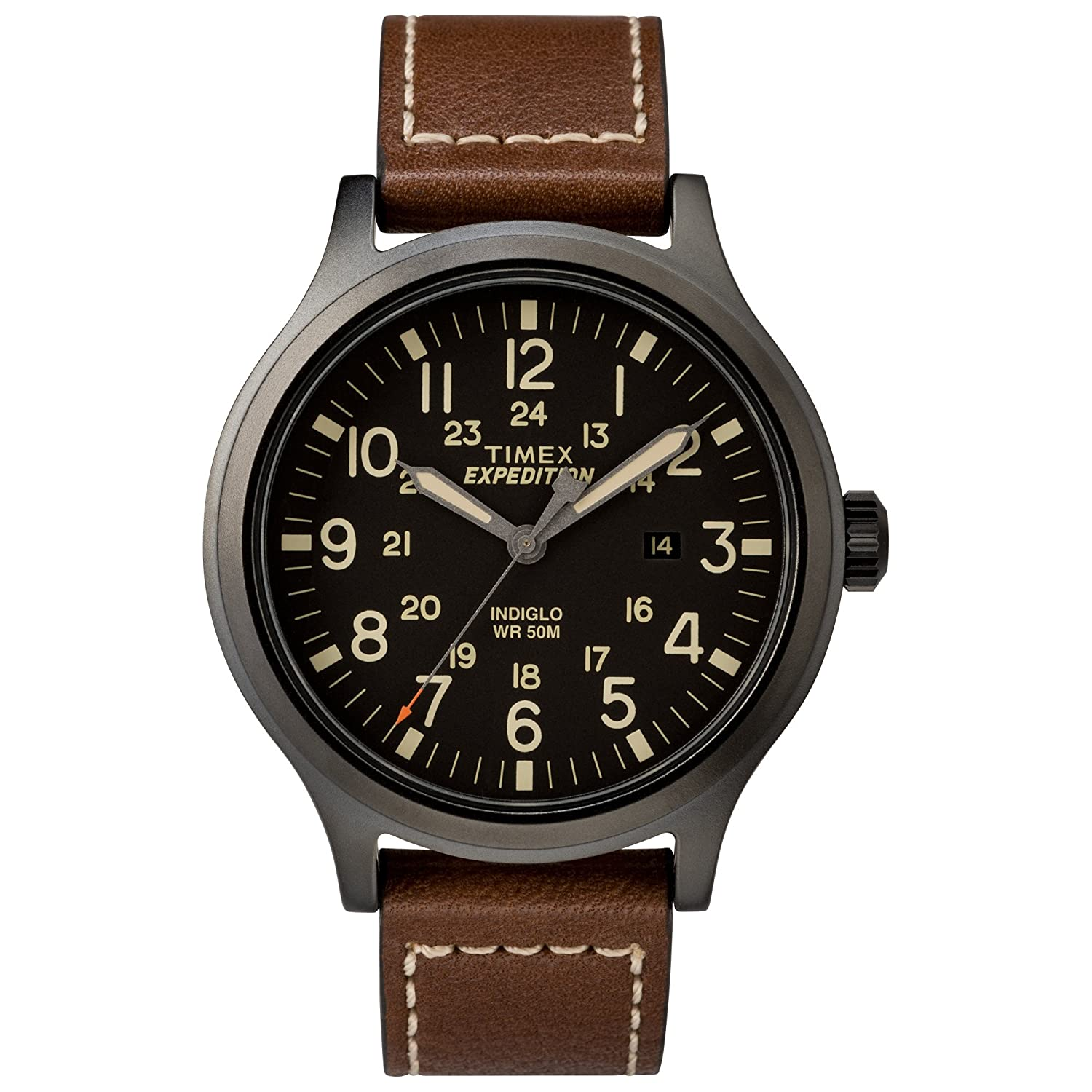Timex Men's Tw4 B11300 Expedition Scout 43 Brown/Black Leather Strap Watch by Timex