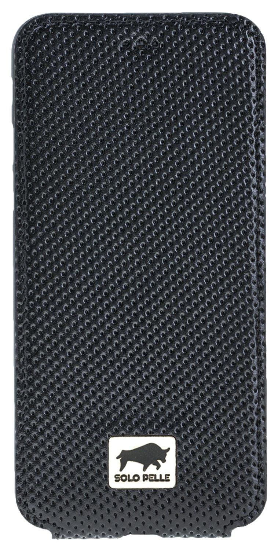 Solo Pelle Iphone 7/8レザーウォレットケーススリムフリップ(パンチングブラックレザー)   B06XP7HX52