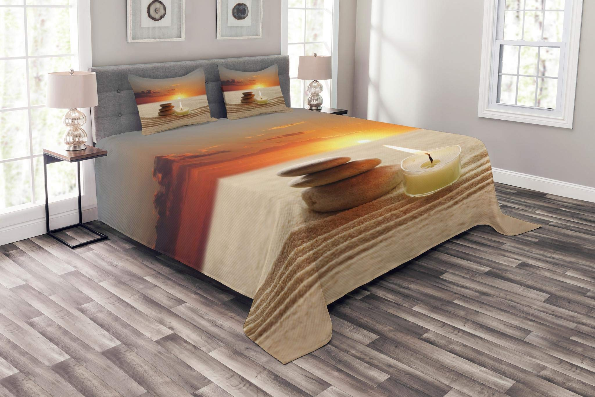 Lunarable Spa Bedspread Set Queen Size, Little Candle with Three Stones Middle of Sand with Sunset Serene Landscape, Decorative Quilted 3 Piece Coverlet Set with 2 Pillow Shams, White Brown and Orange