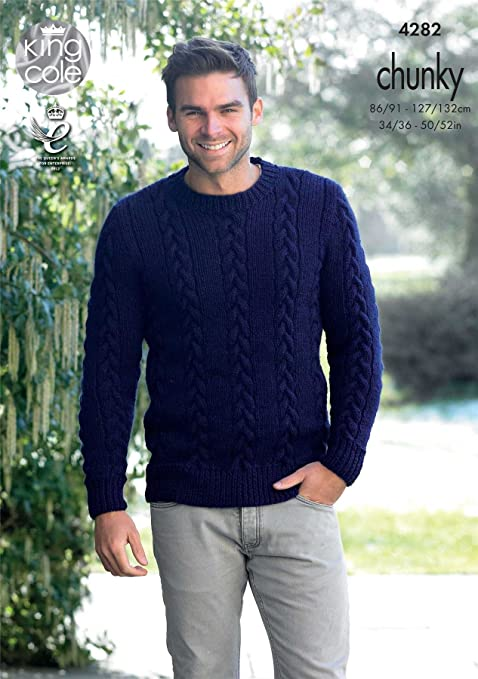 King Cole Magnum Chunky Knitting Pattern Mens Cable Knit Sweater