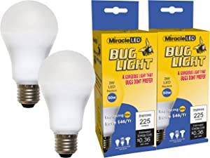 Miracle LED Bug Light Bulb - Replaces Energy Sucking Old Bug Lights for Porch and Patio with Amazing Mellow Yellow Shine (605023-2) 2-Pack