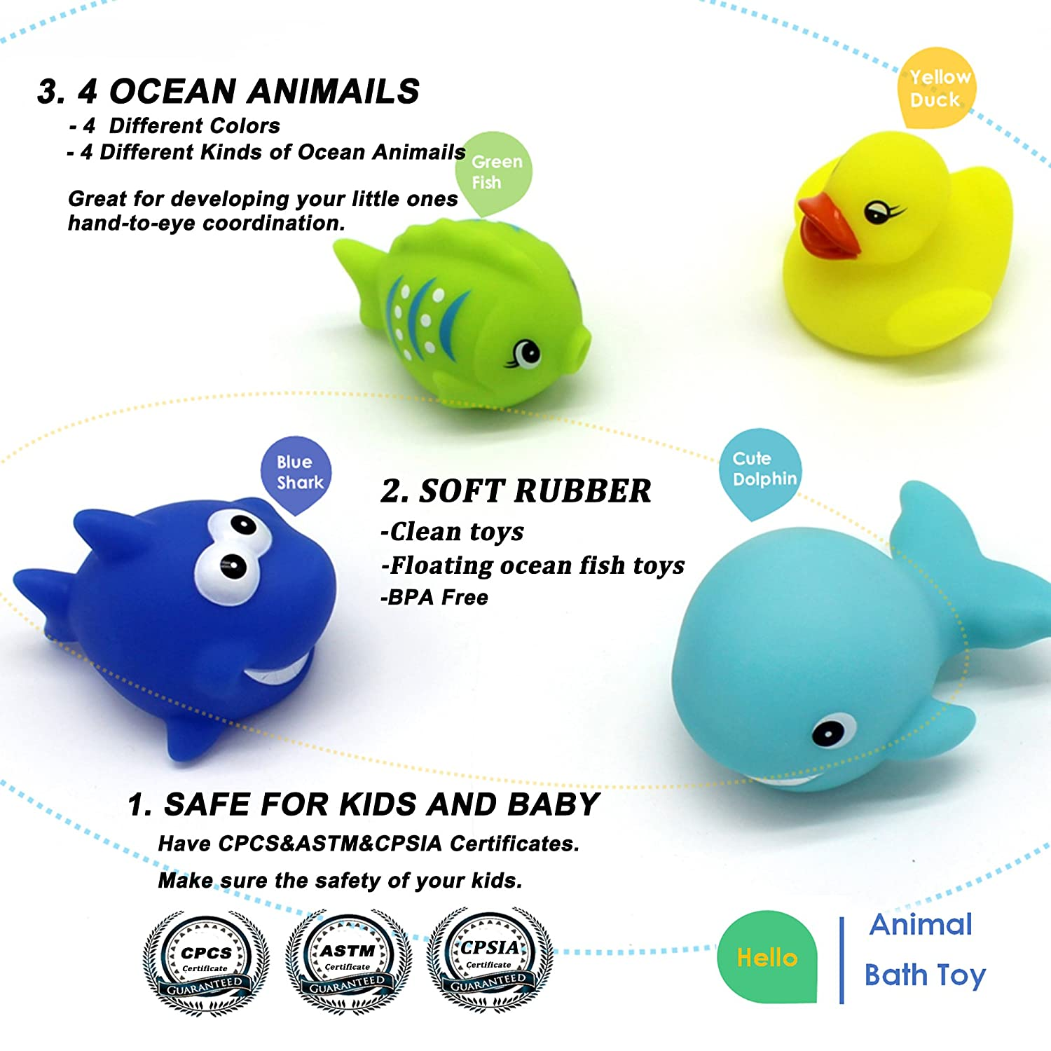 Amazon Bath Toy 4 Pack Little Squirts Bathtime Toy Rubber