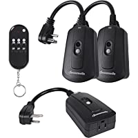 DEWENWILS Outdoor Indoor Wireless Remote Control Outlet Kit, Waterproof Electrical Plug in Remote Light Switch…