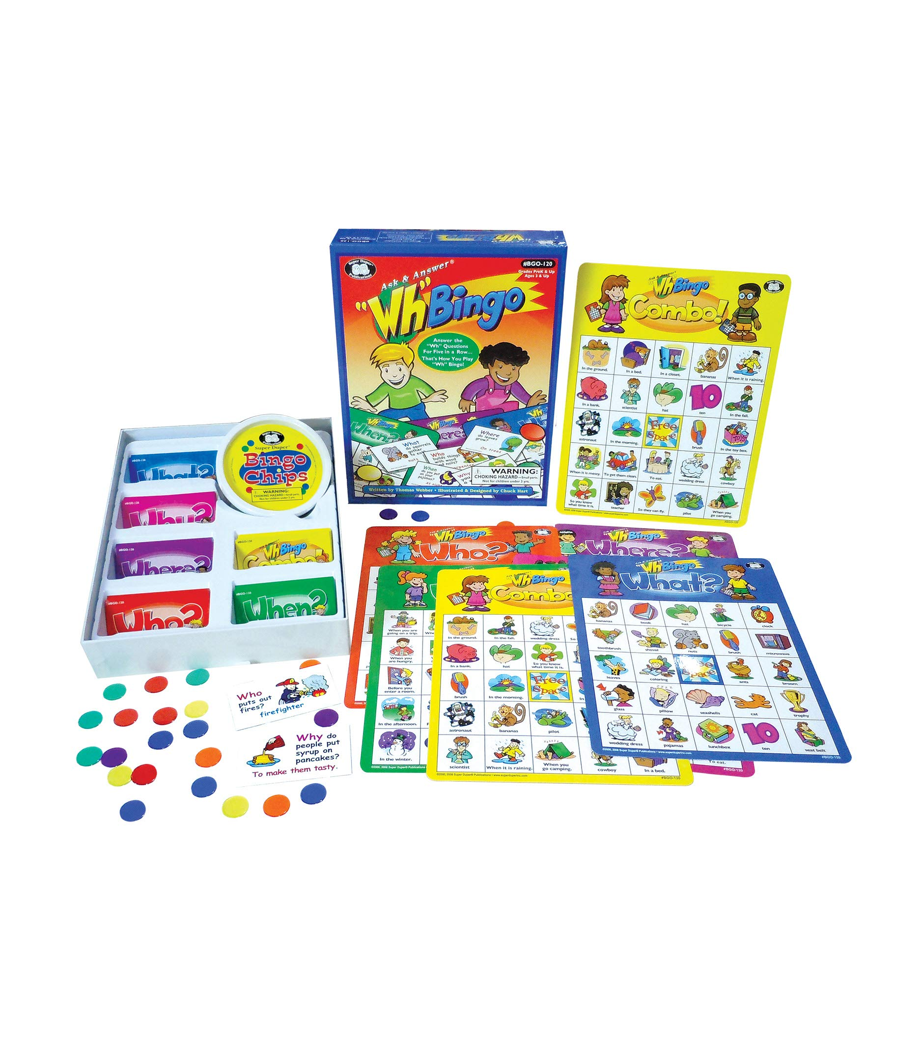 Super Duper Publications | Ask & Answer Wh Bingo Board Game | Comprehension, Verbal, and Communication Skills | Who, What, Where, When, and Why Questions | Educational Learning Materials for Children