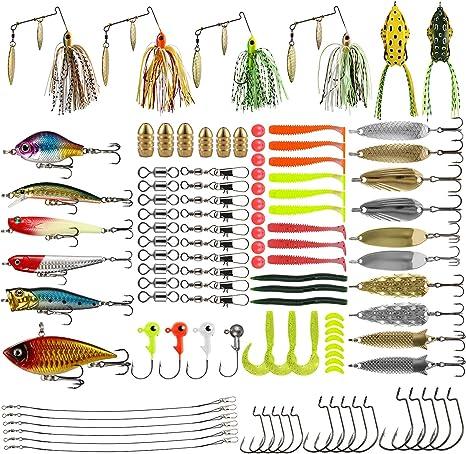 Magreel Señuelos Aparejos de Pesca Kit 110PCS, Artes Accesorios para Pescar Caja con Cebos Cucharillas Anzuelos Plomos Plomada Pesos Plantillas Líder Anillas Emerillones Imperdibles Corcho Flotador: Amazon.es: Deportes y aire libre