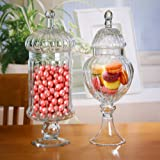 Set of 2 Clear Glass Ribbed Apothecary Jars / Kitchen Food Storage Jars / Candy Buffet Canisters w/ Lids