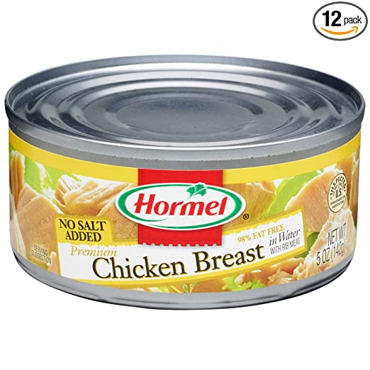 Hormel Premium No Salt Added Canned Chunk Chicken Breast in Water, 5 Ounce (Pack of 12)