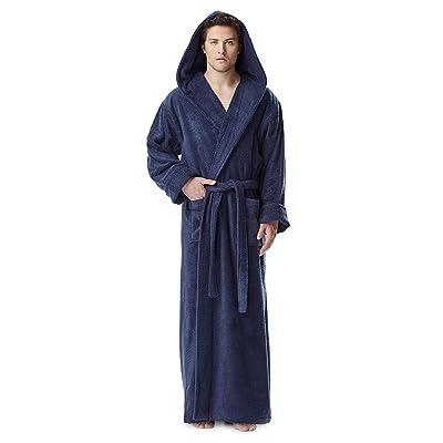 Arus Men's Hood'n Full Ankle Length Hooded Turkish Cotton Bathrobe at Men's Clothing store: Robe