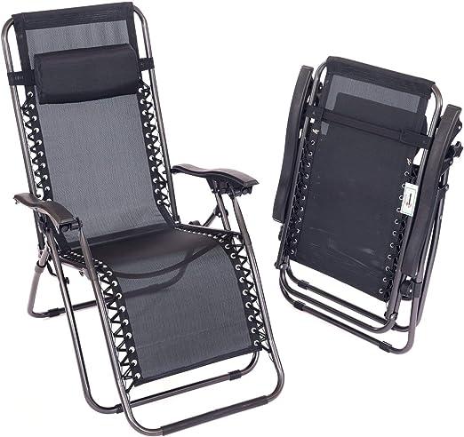 2x Folding Reclining Garden Deck Chair Sun Lounger Zero Gravity NEW