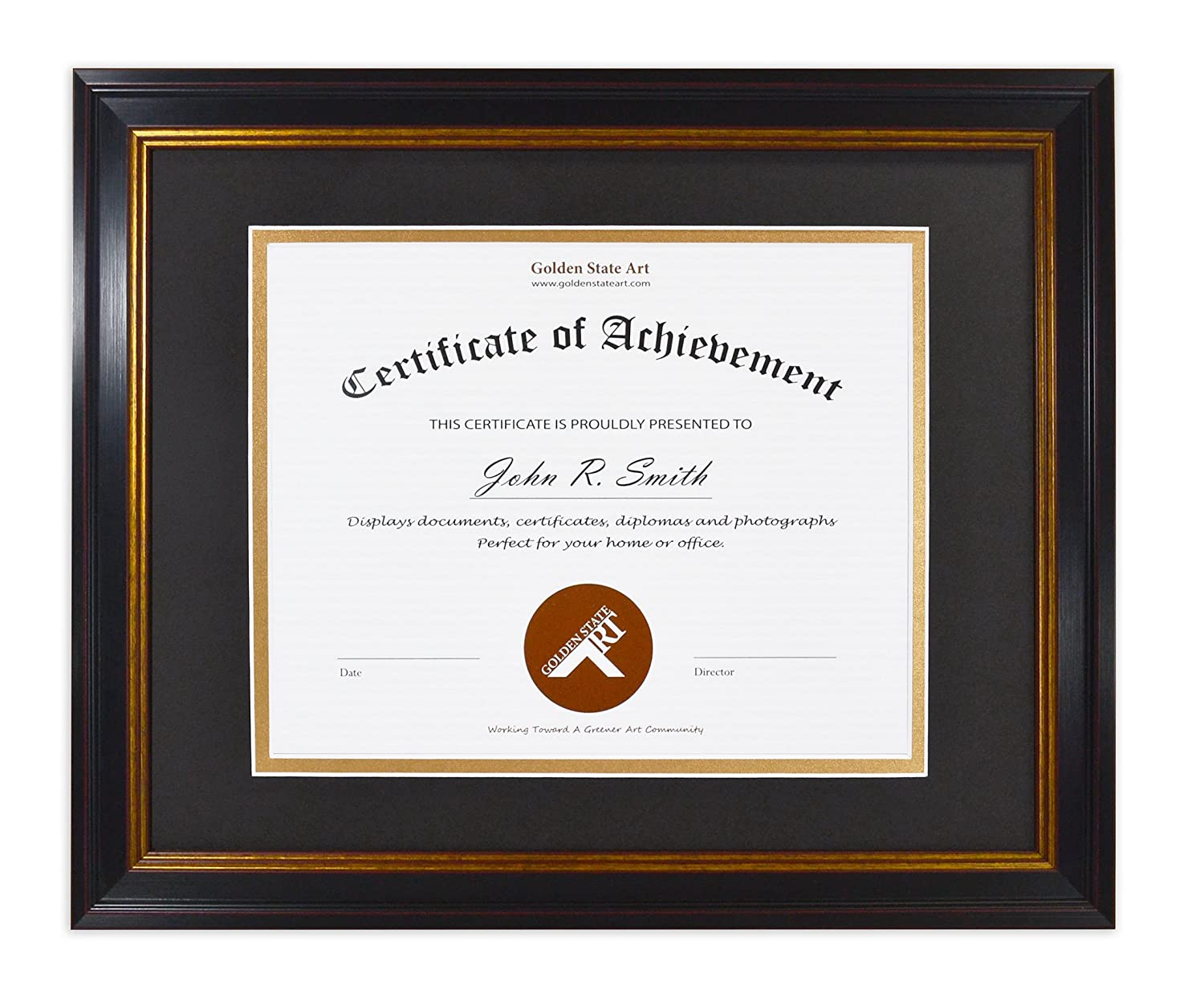 Golden State Art 11x14 Frame for 8x10 Diploma/Certificate, Black Gold & Burgundy color. Includes Black Over Gold Double Mat and Real Glass