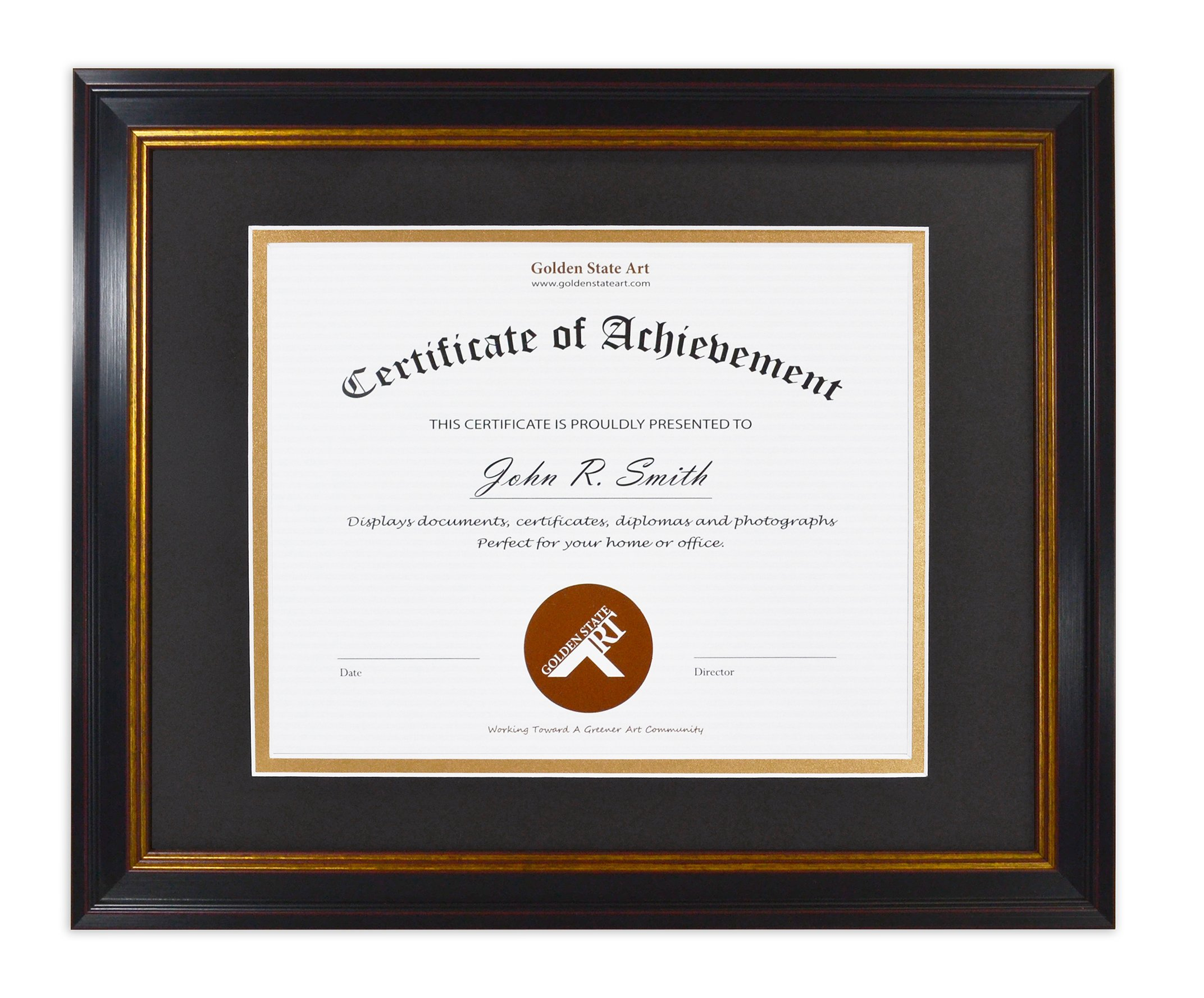 Golden State Art, 11x14 Frame for 8x10 Diploma/Certificate, Black Gold & Burgundy Color. Includes Black Over Gold Double Mat and Real Glass by Golden State Art