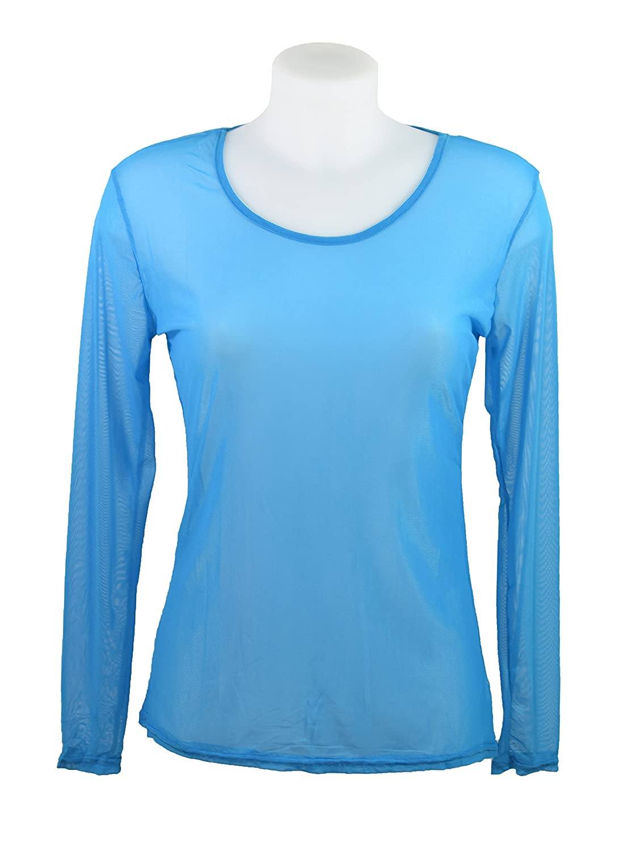Miss Rouge: T-Shirt, Oberteil aus transparentem Gewebe Gr. Small, blau:  Amazon.de: Bekleidung