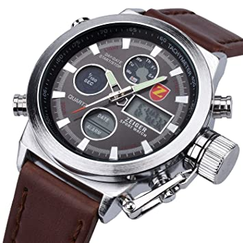 zeiger mens watches alarm chronograph stopwatch multifunction zeiger mens watches alarm chronograph stopwatch multifunction watch for men analogue and digital two time zone