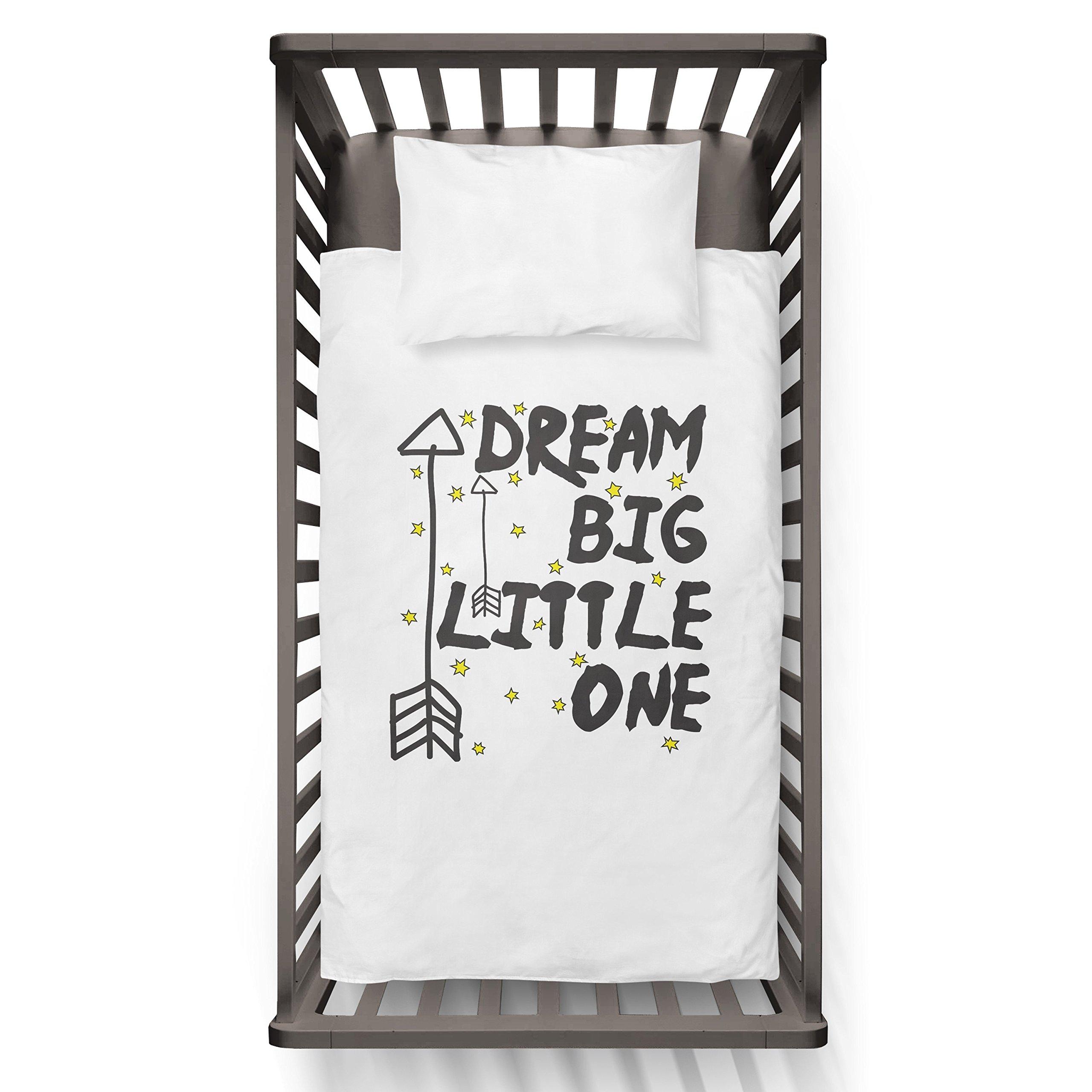 Dream Big Little One Funny Humor Hip Baby Duvet /Pillow set,Toddler Duvet,Oeko-Tex,Personalized duvet and pillow,Oraganic,gift
