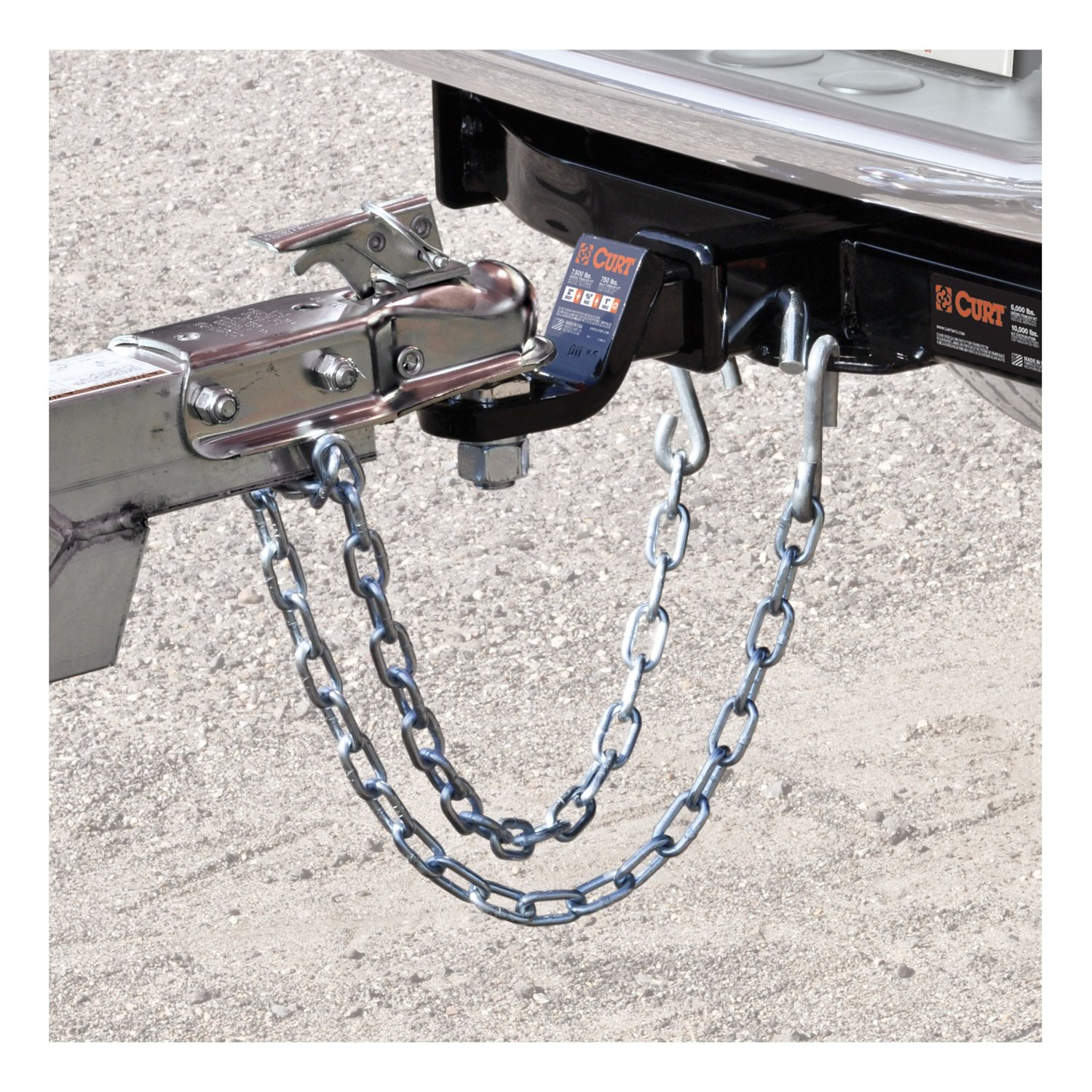 CURT 80301 Trailer Safety Chain with 17//32-Inch S Hooks 27-Inch Length Break Strength 7,000 lbs