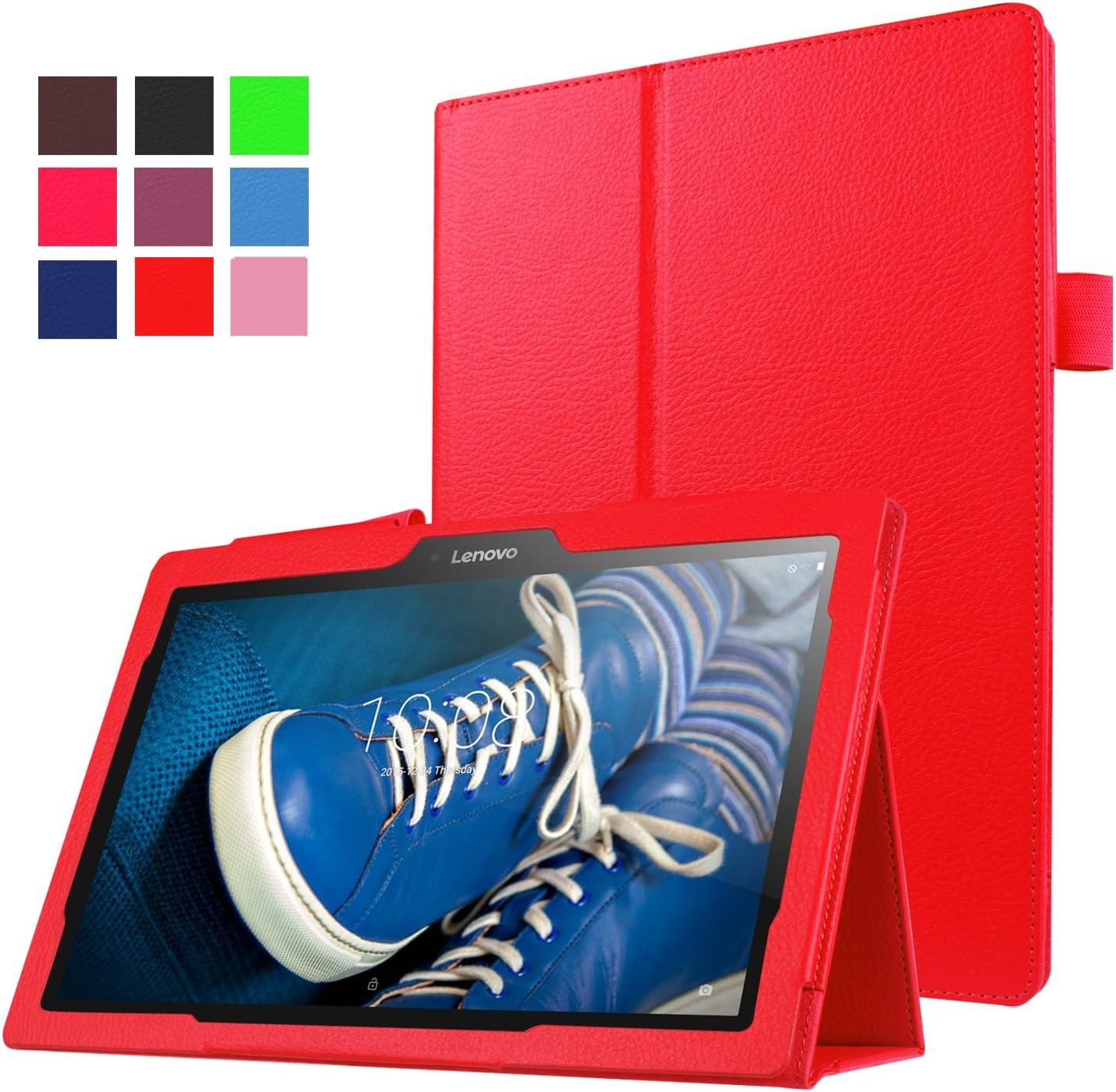 "Asng Lenovo Tab 2 A10/TAB-X103F Tab 10 Case - Slim Folding Stand Cover Smart Case for Lenovo Tab 3 10 Plus/TB-X103F/Tab2 A10-70/Tab2 A10-30/Tab2 X30F/Tab 3 10 Business TB3-X70F 10.1"" Tablet (Red)"