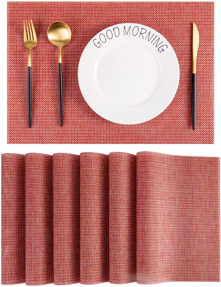 Viomir Placemats, Heat-Resistant Placemats Stain Resistant Anti-Skid Washable PVC Table Mats for Dining Table, Washable Woven Vinyl Placemats, Set of 6(Red)