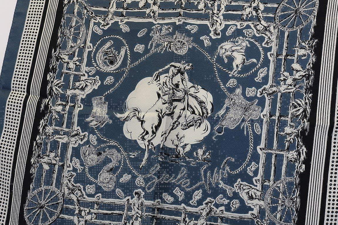 Blue Silk SICILIAN WESTERN Print Blue Dolce /& Gabbana