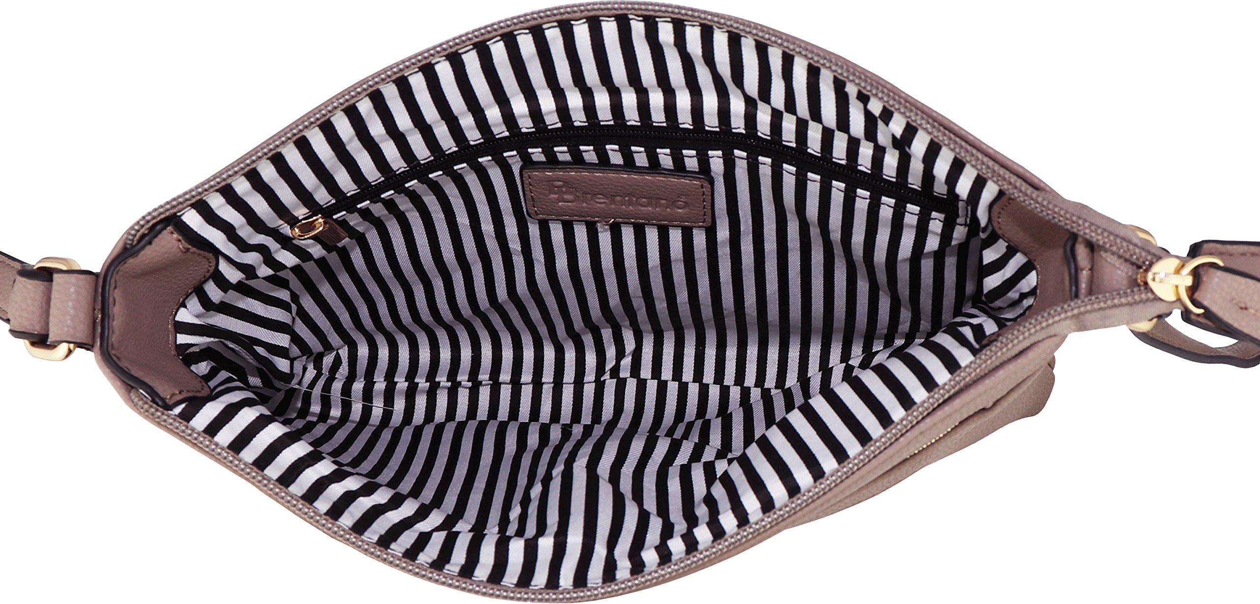 B BRENTANO Vegan Multi-Zipper Crossbody Handbag Purse with Tassel Accents (Nude 1) by B BRENTANO (Image #6)