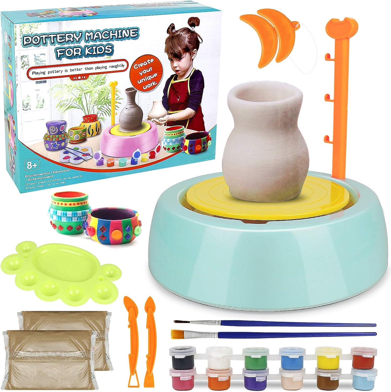 Pottery Wheel Kit for Kids, Handmade Artist Paint Pottery Studio, Ceramic Machine with Sculpting Clay Educational Handicraft DIY Toy Art Craft Kit for Boys Girls Beginners - Green