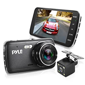 """Dash Cam Rearview Mirror Monitor - 4.0"""" IPS Screen DVR Rear View Dual Camera Video Recording System in Full HD 1080p w/ Built in G-Sensor Parking Monitor Control Loop Record Support - Pyle PLDVRCAM44"""