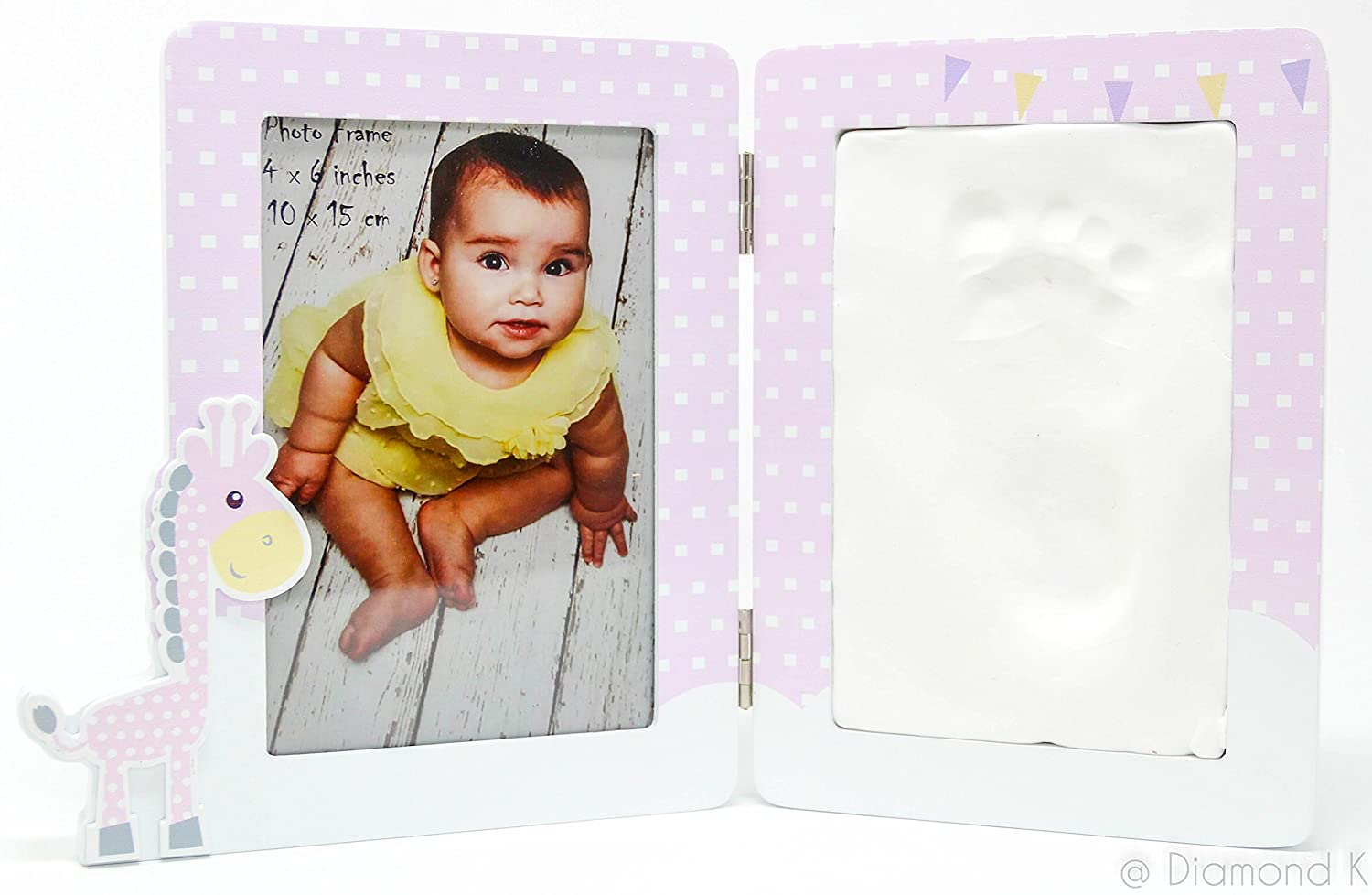 Baby Handprint & Footprint Clay Kit - Picture Frame DIY with Premium Wooden Frame & Non-Toxic Unique Baby Shower Gift for New Moms or Baby Registry - A Memorable Keepsake | by Baby FLÖ One Diamond K