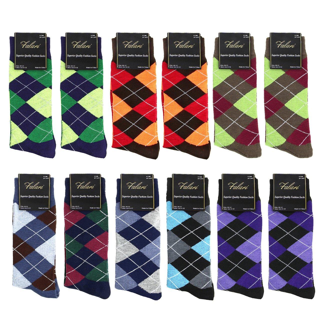 Falari Men Cotton Dress Socks, 12-pack (Diamond Shaped)., One Size