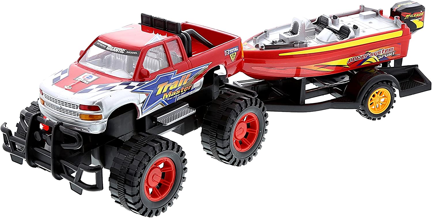Mozlly Monster Truck Trailer & Speed Boat Friction Push Powered Hauler Play Set Outdoor Beach Sandbox Boy Toy Monster Truck Fun Toy Vehicle Adventure for Boys Kids Toddlers Red Or Black Color