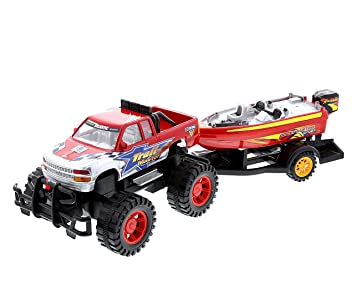 Mozlly Monster Truck Trailer & Speed Boat Friction Push Powered Hauler Play  Set Outdoor Beach Sandbox Boy Toy Monster Truck Fun Toy Vehicle Adventure
