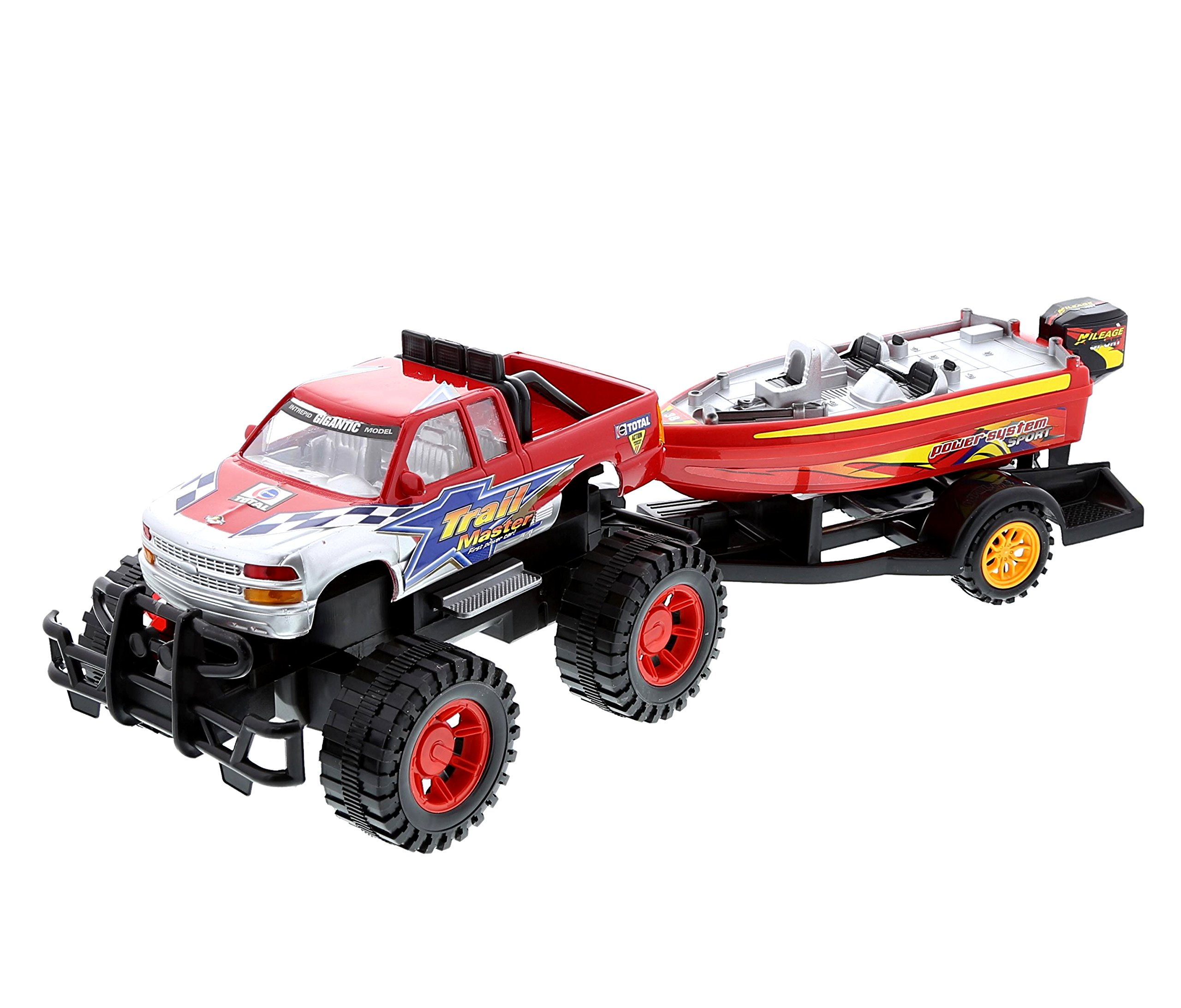 Monster Truck Trailer with Speed Boat - Friction Push Powered Hauler Play Set - Great Car Boat Fun Adventure for Boys, Kids, Toddlers - Vehicle Theme - Red Or Black Color - Item 101308