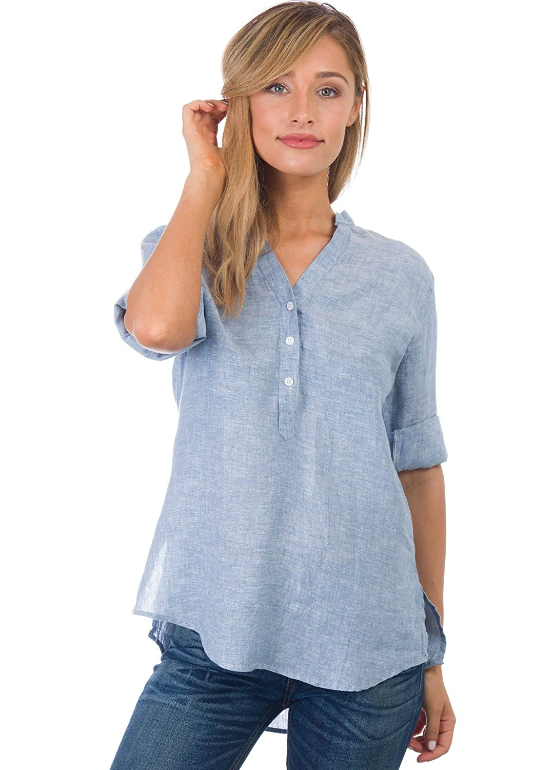 897d53828ca CAMIXA Women s 100% Linen Casual Button-up Popover Shirt Effortless Airy  Basic at Amazon Women s Clothing store