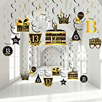 30 Pieces 13th Birthday Party Decorations, Happy 13th Party Hanging Swirls, Silver Black Golden Cake Glasses Balloons…