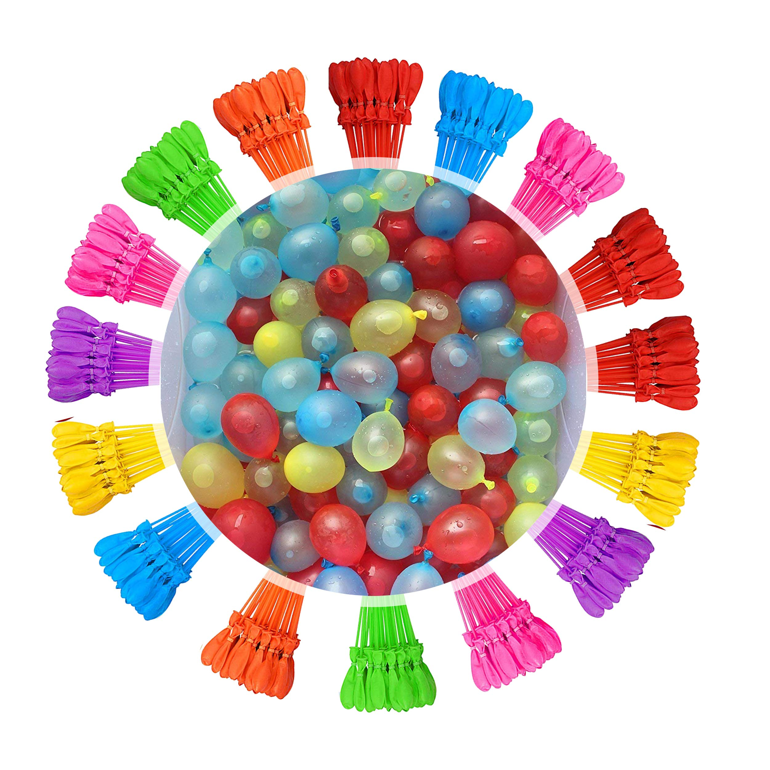 Tiny Balier Water Balloons 16 Bunch 596 Balloons Instant Fill Balloons Easy Quick Splash Fun Rapid-Filling Self-Sealing for Kids and Adults Party ... (Multicolored-1) by Tiny Balier