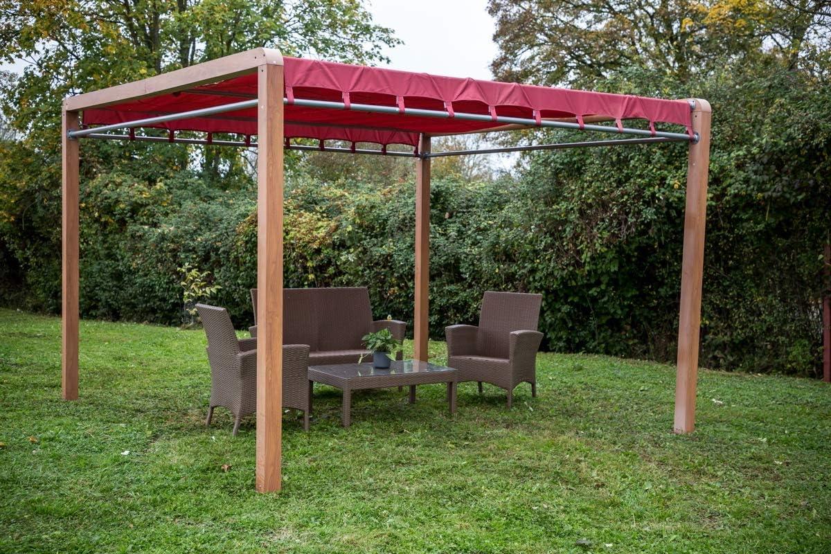 HABRITA Pérgola imitación madera estructura aluminio: Amazon ...
