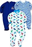 Gopuja New Born Baby Multi-Color Long Sleeve Cotton Sleep Suit Romper for Boys and Girls Set of 3 (Rompers)