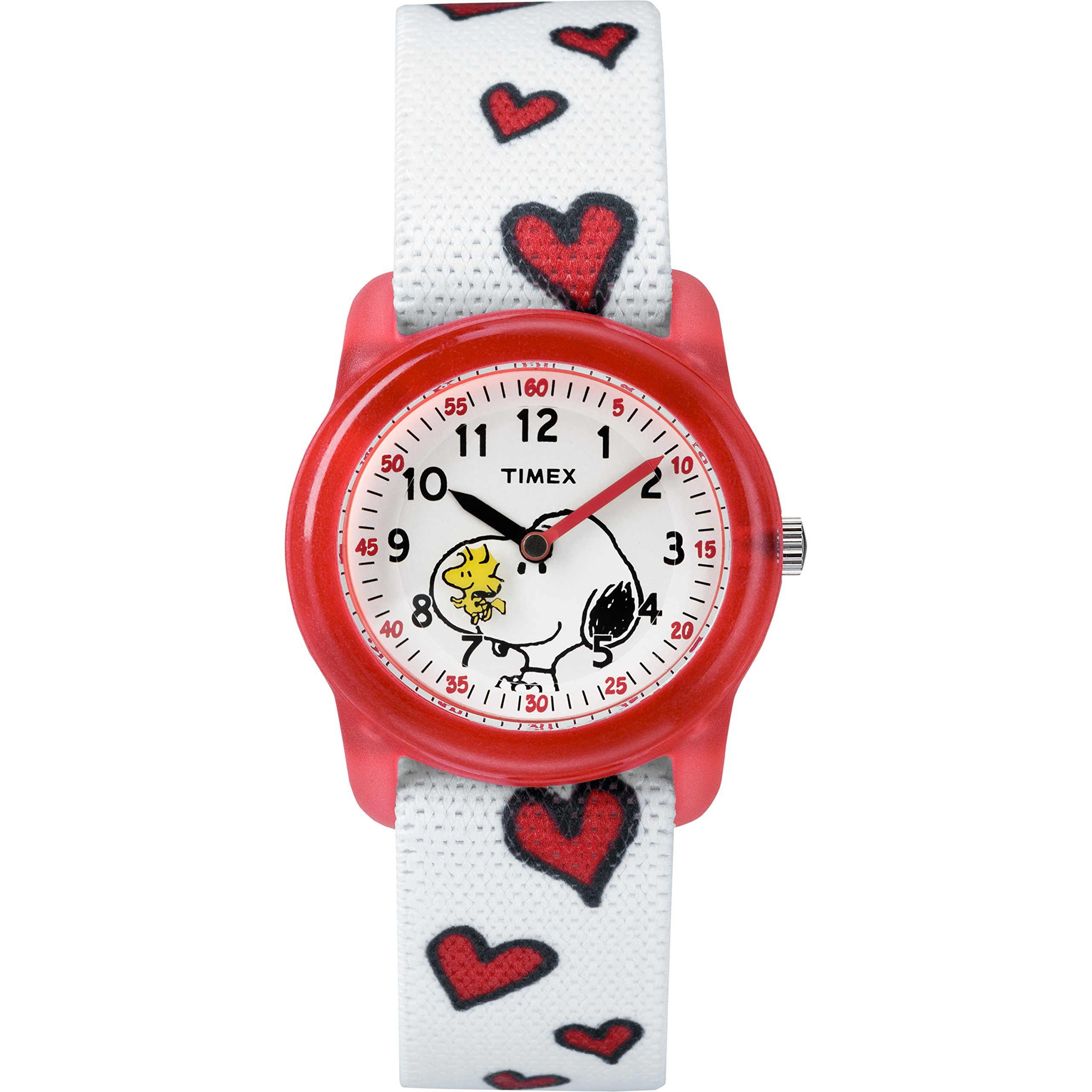Timex Girls TW2R41600 Time Machines x Peanuts: Snoopy & Hearts Elastic Fabric Strap Watch by Timex
