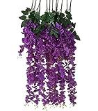 Houda Artificial Fake Wisteria Vine Ratta Silk Flowers for Garden Floral Decoration, DIY soggiorno appeso fiore; 6pcs Purple