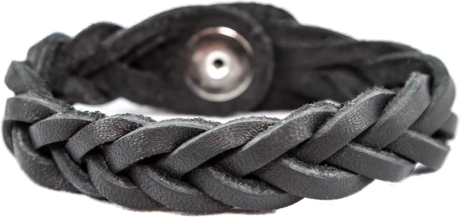 Essential Oil Aromatherapy Diffuser Bracelet, Braided Leather, Unisex (Small, Black)