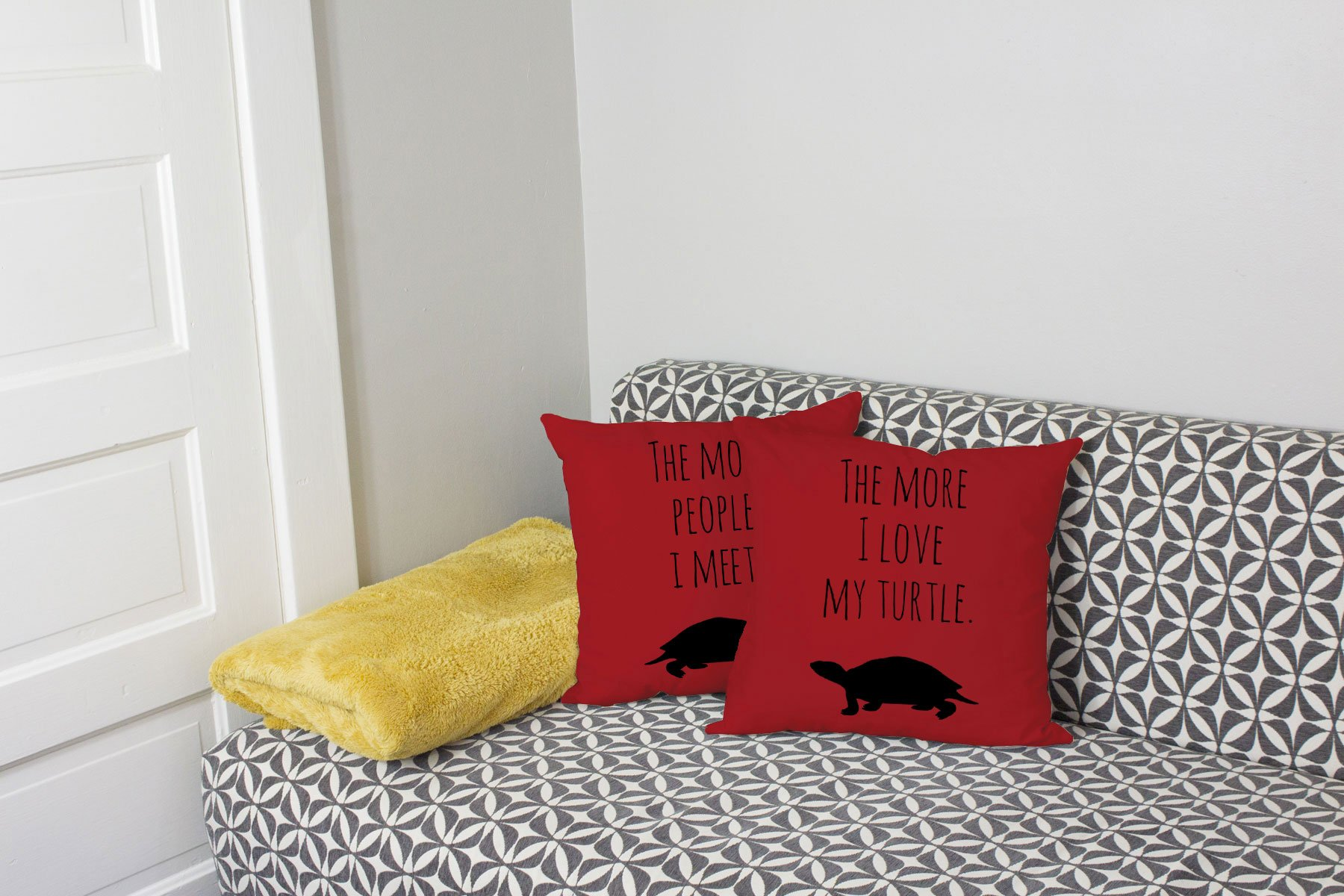 Set of 2 RoomCraft I Love My Turtle Throw Pillows 20x20 Square Red Cotton Cushions by RoomCraft (Image #2)
