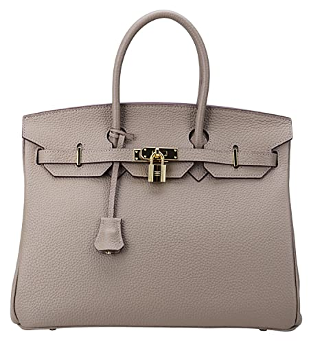 Cherish Kiss Women's Classic Genuine Leather Tote Padlock Handbags