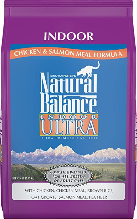 Natural Balance Indoor Ultra Premium Dry Cat Food, Chicken, Chicken Meal, Brown Rice, Oat Groats, Salmon Meal & Pea Fiber Formula, 6 Pounds