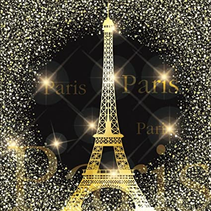 Amazon Com 8x8 Ft Paris Theme Backdrop For Party Gold Eiffel Tower